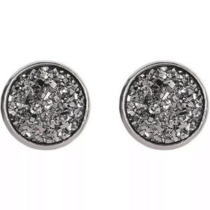 Black Gray Druzy Stud Earrings